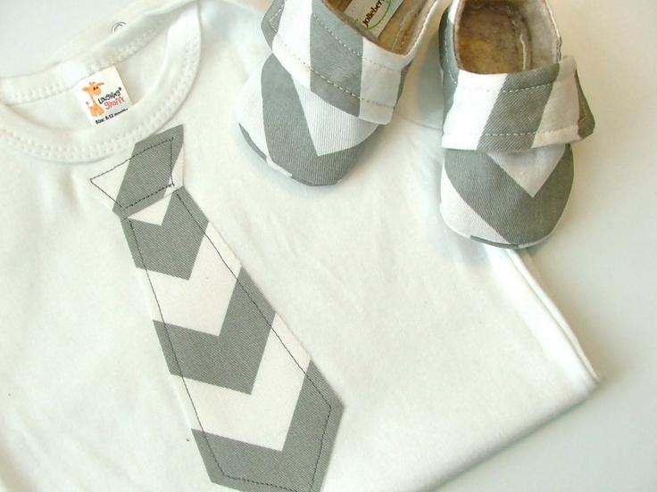 CHEVRON TIE in gray - Baby Boy Shoe/Onesie Combo. $32.95, via Etsy.