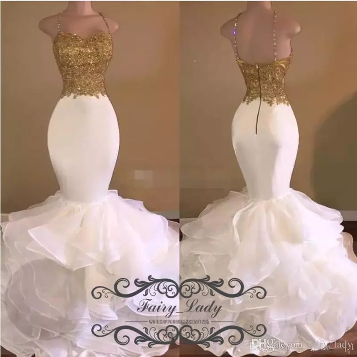 Spaghetti Strap Sexy Tiered Ruffles Mermaid Prom Dresses With Gold Appliques Shiny Beads Organza 2017 Long Graduation Evening Dress Gowns White Prom Dress Formal Dresses For Juniors From Fairy_lady, $132.9| Dhgate.Com