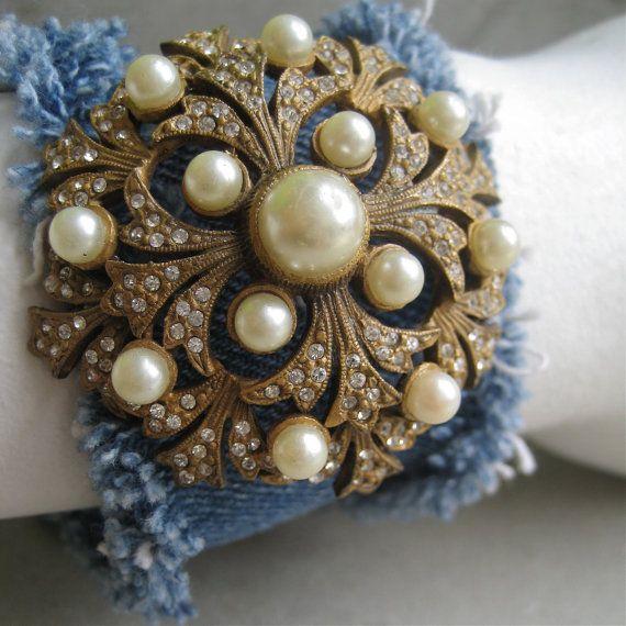 Denim Cuff Bracelet With Antique Pearl Brooch - Upcycled Levi Bracelet - Levis - Bracelet - Piece Lust