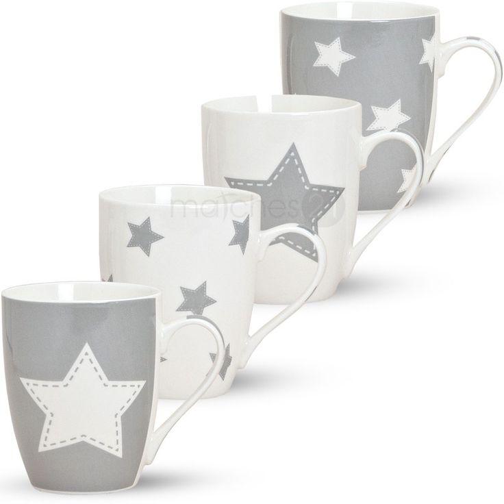 Becher-Kaffeebecher-Tassen-Sterne-grau-4-Stk--Porz.jpg 800×800 Pixel