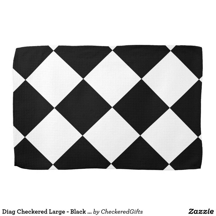 Diag Checkered Large - Black and Cream Hand Towels