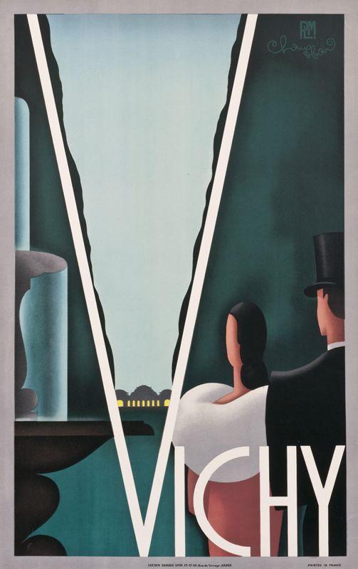 Vichy France Vintage Travel Poster , 1930 ca by Chauffard, H