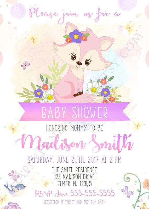 Pink Watercolour Fox Girls Invitations Baby Shower Invitations