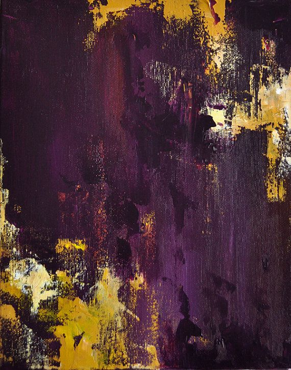 Plum and Yellow Original Abstract Painting 12x9 inch