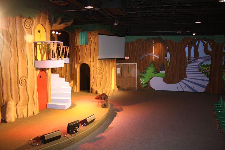 Styrofoam trees built for the muir woods treehouse themed for Treehouse kids room