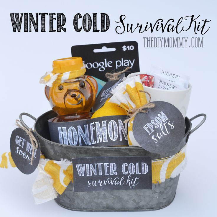 DIY Winter Cold Survival Kit: A Get Well Soon Gift Basket Idea with Free Printables | The DIY Mommy