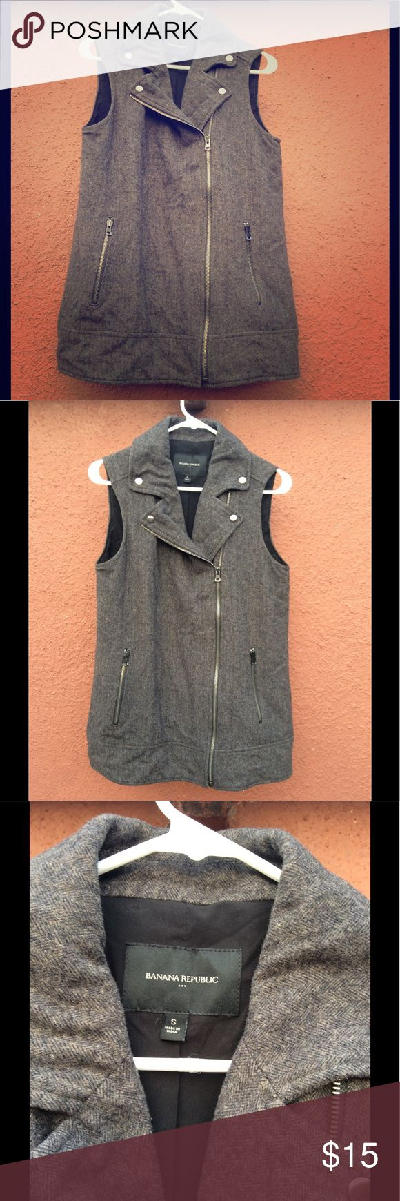 Banana Republic Long Vest Biker style long wool vest. Throw it over a blouse and your good. Silver hard wear. Banana Republic Jackets & Coats Vests