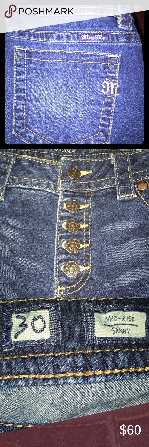Sexy Button Fly Jeans Miss Me. Button Fly, mid-rise, skinny jeans. Factory holes near knees. Slightly distressed look. Almost new condition. Ankle length. Miss Me Jeans Skinny