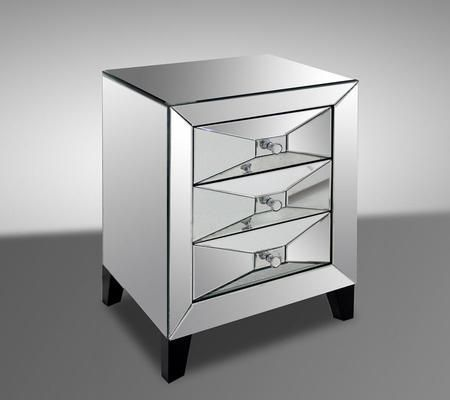 """Modrest Warwick VGMC-GD-1033 20"""" Transitional Mirror Bedside Table with 3 Drawers"""