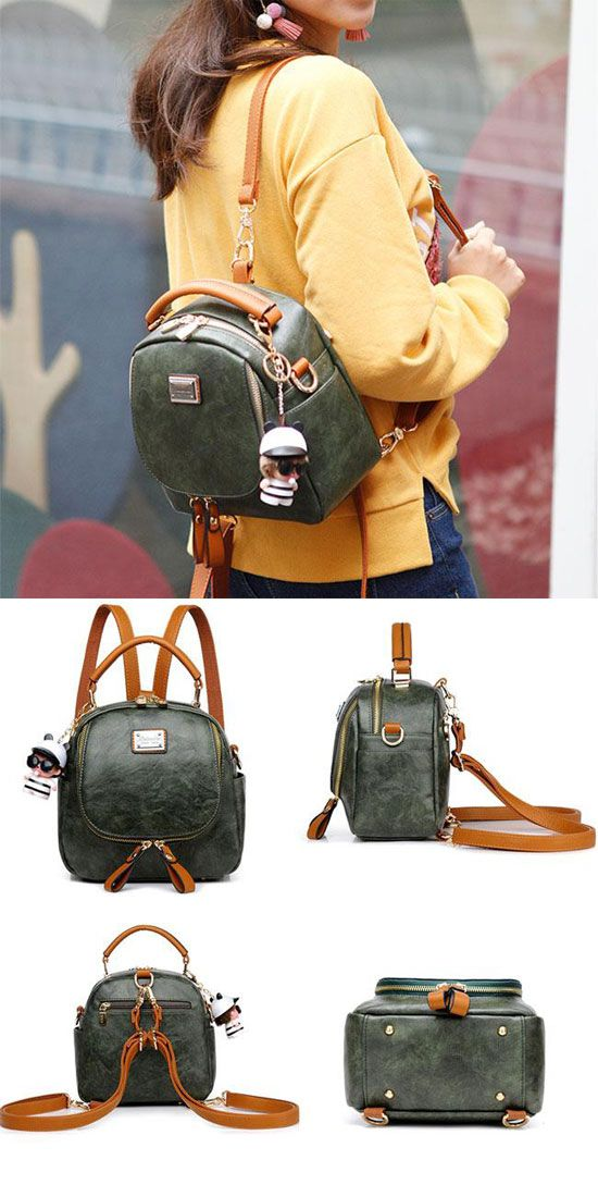 Retro Multi-function Small Square PU Shoulder Bag Handbag Lady Backpack   backpack  bag 23ff18f882cc5