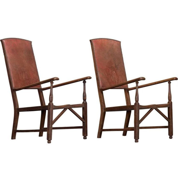 Pair of Oak and Leather Armchairs, circa 1900 | From a unique collection of antique and modern armchairs at https://www.1stdibs.com/furniture/seating/armchairs/