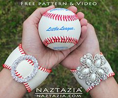 DIY Free Pattern and YouTube Video Tutorial Baseball Bracelet Cuff Made from a Real Ball by Donna Wolfe from Naztazia