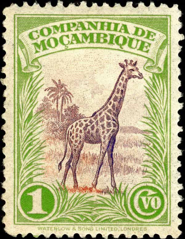 Mozambique Stamp, Agreement to Transfer Giraffes from Kruger National Park in South Africa to Limpopo National Park in Mozambique 1937