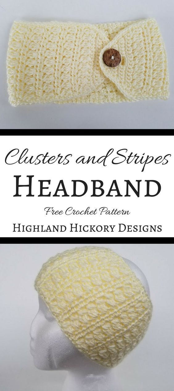 Free pattern for crochet winter wear for women. The Clusters and Stripes Ear Warmer Headband is adjustable, thick and warm to cover your ears when chilly.