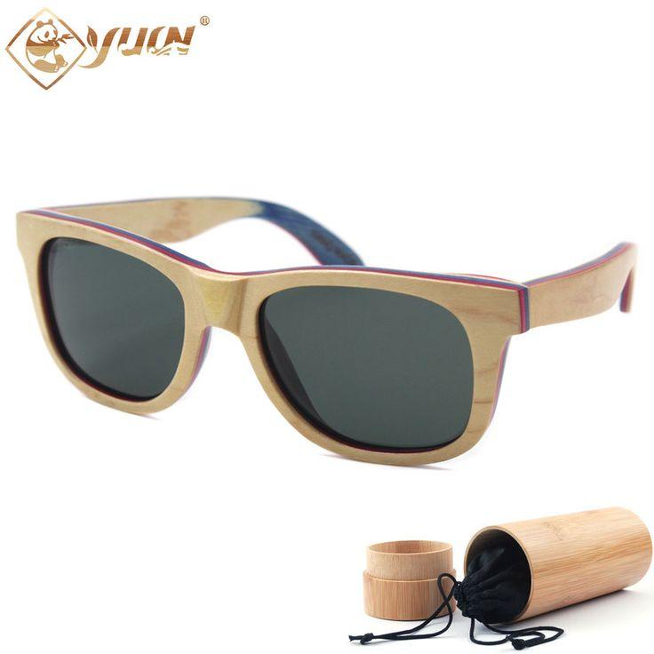 Summer style handmade vintage skateboard wood sunglasses polarized femme wooden lunette de soleil homme W108