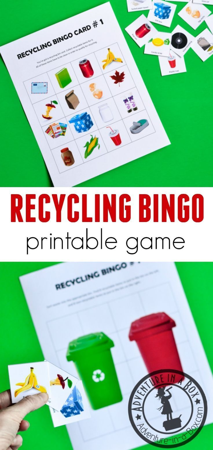 Recycling Bingo Printable Game for Kids Recycling