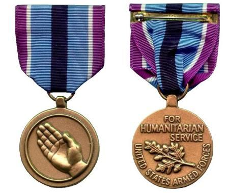 The Humanitarian Service Medal (HSM) is a military service medal of the United States Armed Forces which was created on January 19, 1977 by President Gerald Ford under Executive Order 11965. This medal is awarded to any member of the United States military (including Reserve and National Guard members) who distinguish themselves by meritorious participation in specified military acts or operations of a humanitarian nature.