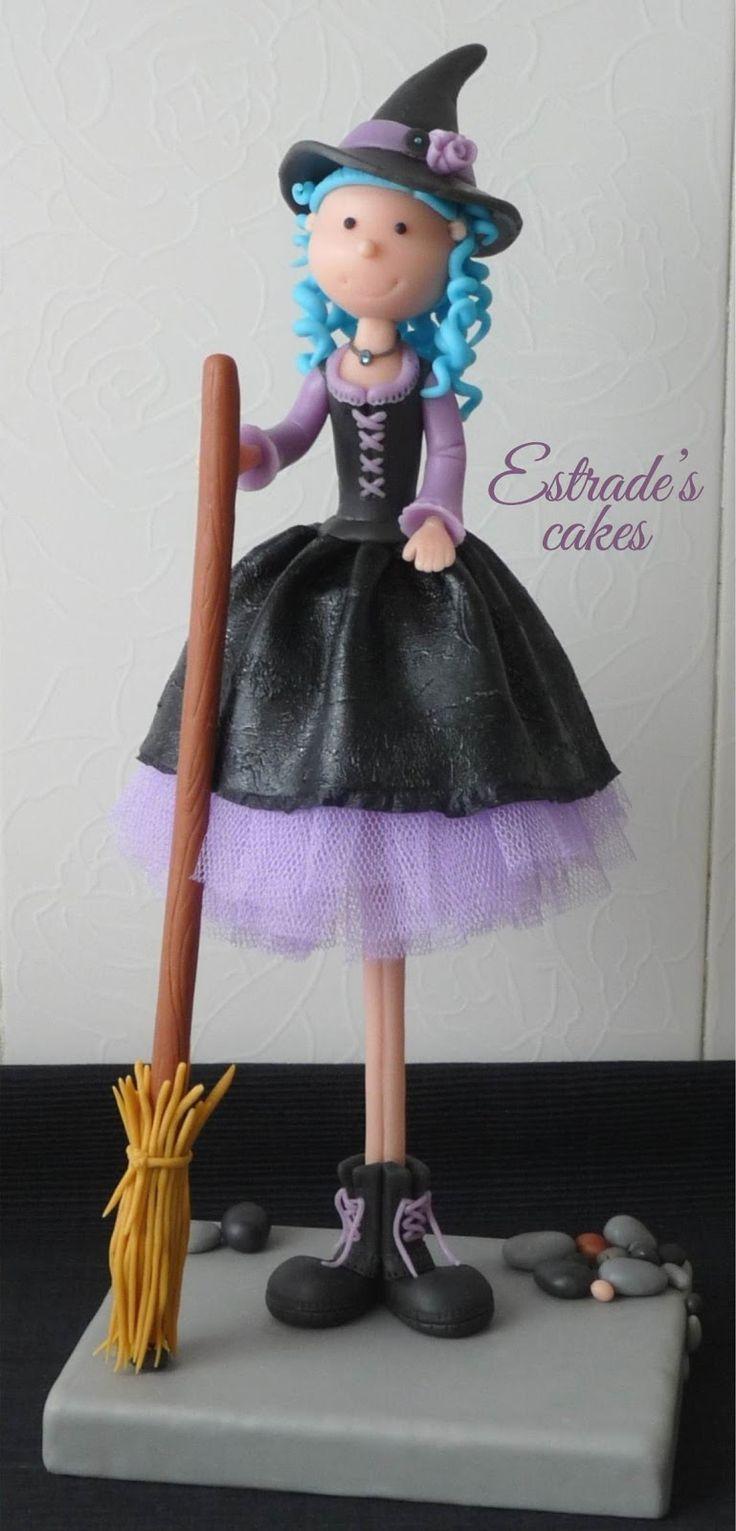 Estrade's cakes: bruja alta hecha en porcelana fría