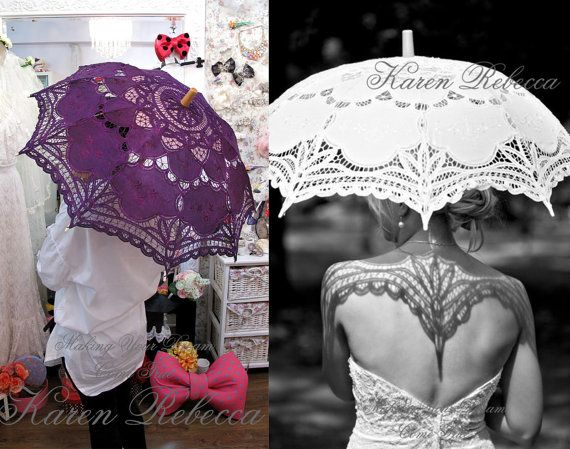 Special Offer Handmade Plum Battenburg Lace Vintage Umbrella Parasol For Bridal Bridesmaid Wedding on Etsy, $20.00