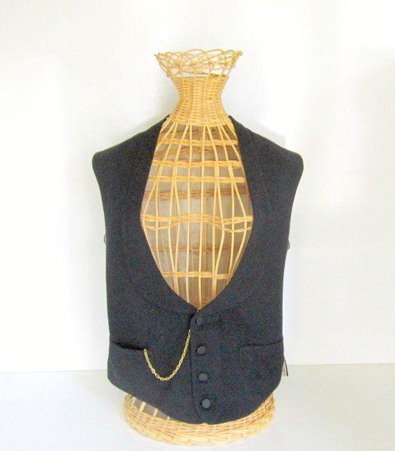 Steampunk Vest Black Wool Vest Edwardian by nanascottagehouse, $89.99