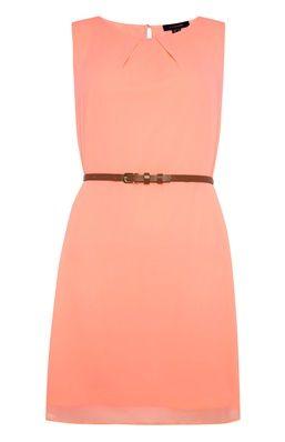 Neon Coral  Chiffon Belted Dress