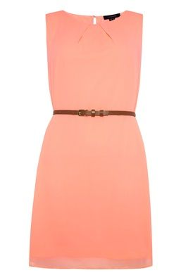 Neon Coral  Chiffon Belted Dress