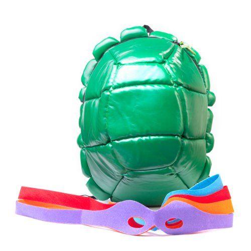 Cowabunga!Der Turtles Rucksack mit 4 Augenbinden sieht aus wie ein Schildkrötenpanzer, es wurden aber keine echten Tiere verwendet.