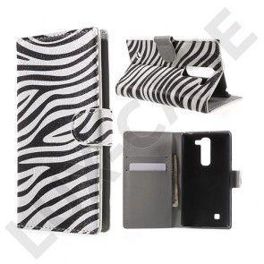 Moberg LG G4c Læder Etui Med Kortholder - Zebra Striber