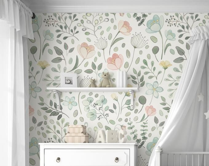 Amara Floral Wallpaper Mural Watercolor Floral Traditional Or Removable Vinyl Free Non Toxic Floral Wallpaper Mural Wallpaper Removable Wallpaper