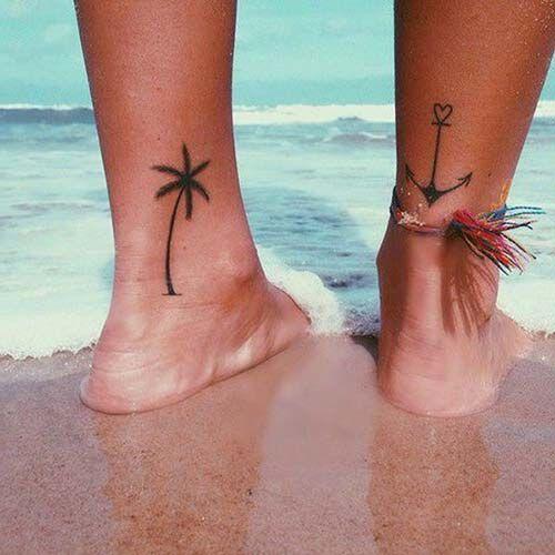 woman ankle anchor tattoo kadın ayak bileği çapa dövmesi