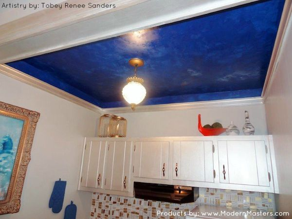 Ceiling Finished With Modern Masters Metallic Plaster And