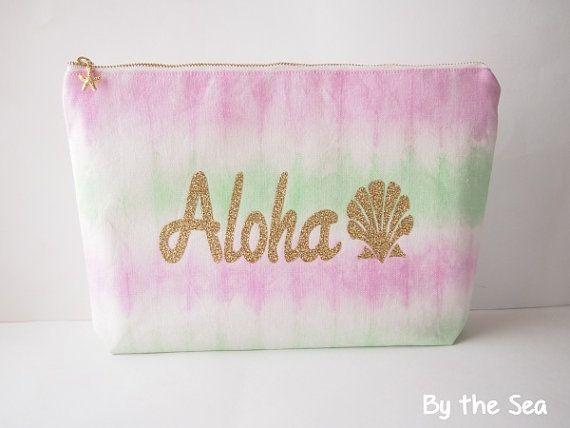 Tie dye cotton linen zipper clutch bag Big pouch by BytheSeajewel