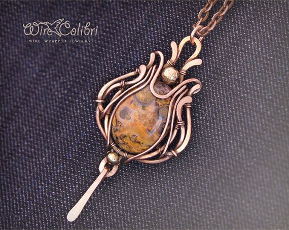 Jasper stone pendant necklace, wire wrapped jewelry handmade, yellow, copper necklace