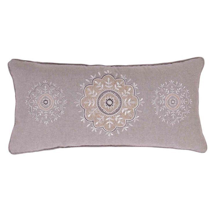 Tammy Sparkle Burlap Throw Pillow, Grey