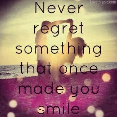 What a load of crap. Regret keeps you in check. You cheated on someone, it made you smile at the time but ruined your life and hurt the ones you love....but don't regret it.. Bollocks