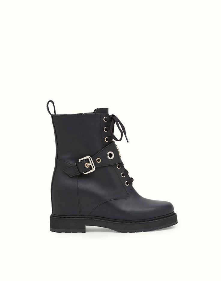 FENDI ANKLE BOOTS - Black leather biker boots - view 1 detail
