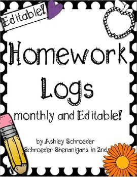 These homework log templates allowThursday, a spot for a parent signature each night, additional boxes for upcoming assignments, tests, or announcements, and monthly themed clip art.I have also included a final, clip-art free,  log that leaves the extra announcement boxes blank for you to add your own text and use them for exactly the purpose that YOU see fit...