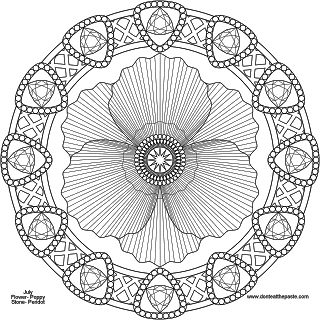 August mandala- poppy and peridot to print and color - png version