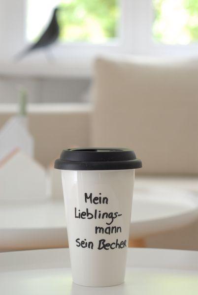 Geschenkideen für Männer: Becher mit Spruch / coffee to go cup by Schneemarie via DaWanda.com