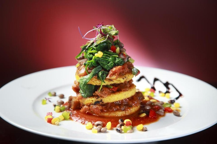 Enjoy the Polenta Napoleon by the new Boston-based Walnut Grille (Vegetarian, Gluten-free). #DineLocal