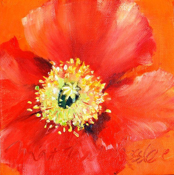 "Poppy in red 15 x 15cm / 5.9"" oil on canvas mathildarosslee.wix.com/mathilda-rosslee"