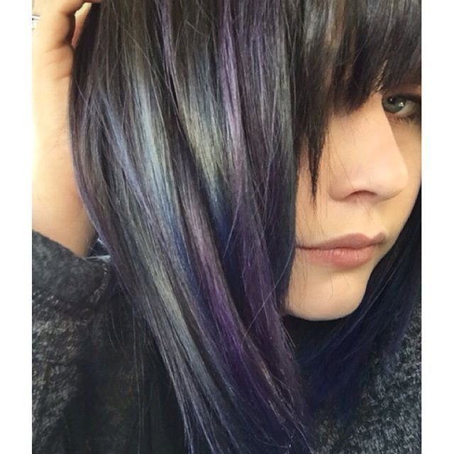 Smoky Silver Highlights Over Dark Brunette Hair By