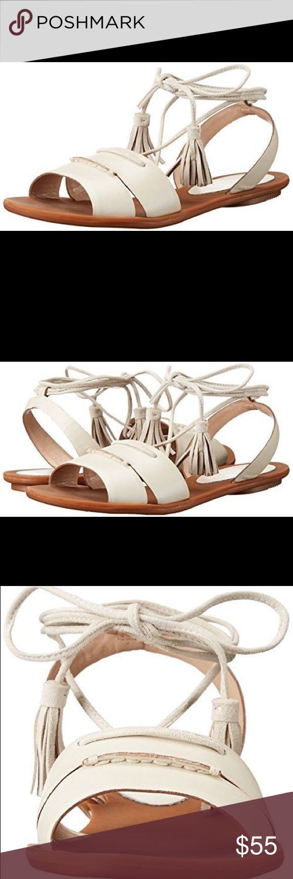French Connection Bobbie Flat Sandal Flat sandal with ankle lacing and tassels Imported Synthetic sole Leather upper Color: Brule French Connection Shoes Sandals