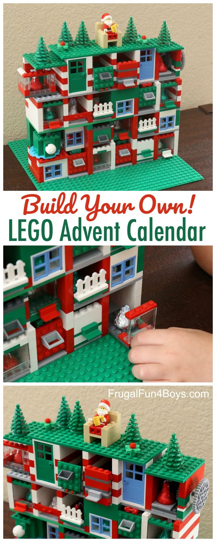 Build Your Own LEGo Advent Calendar - with bricks you already have. 24 doors that open, with candy inside! What a fun idea!