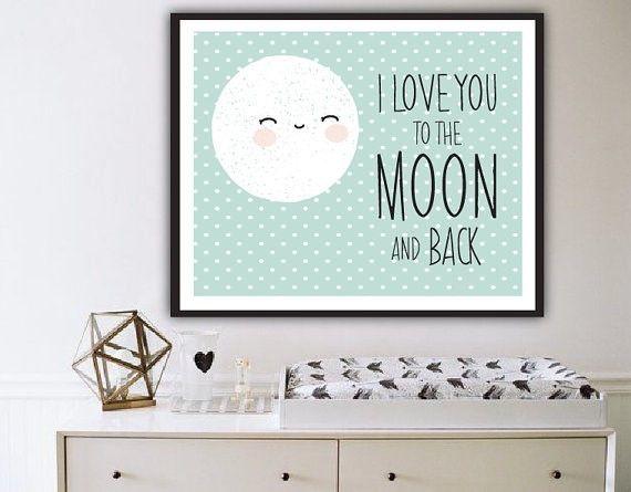 Engeltjes & Draken | Poster maan Poster met een tekening van een zoete, slaperige maan op een zacht groene achtergrond met witte stipjes. Naast de maan siert de tekst 'Love you to the moon and back'. #poster #kinderkamer #babykamer #mintgroen #moon #maan #engeltjesendraken