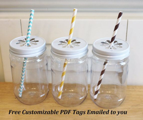Plastic Mason Jars, 10 Plastic Mason Jar cups, PDF Jar Tags, Daisy Lids, Wedding, Baby Shower, Favors, Mason Jar favor, 17oz Made in USA