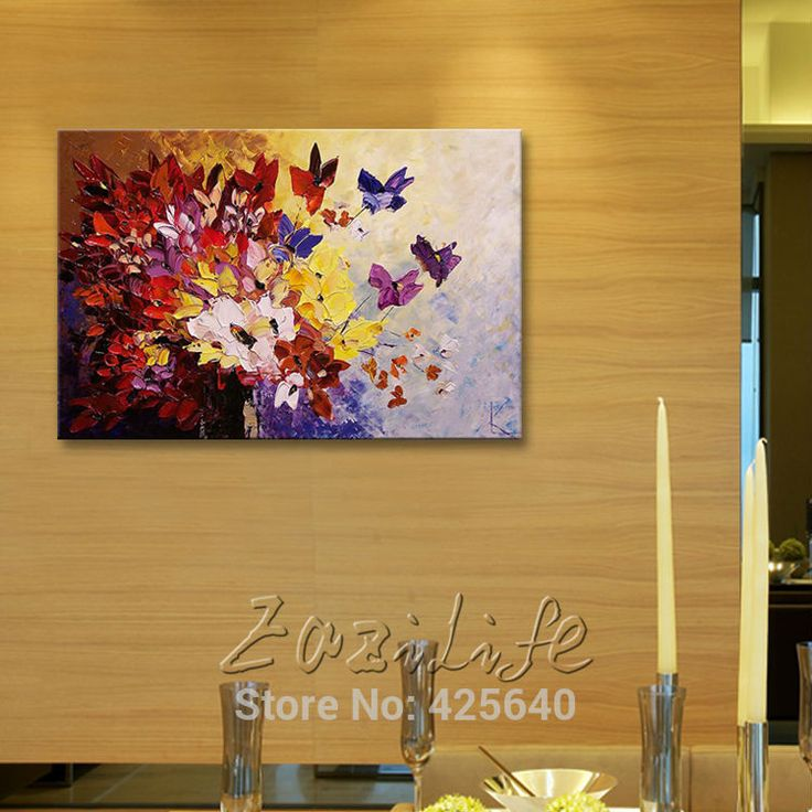 82 best Flower hand-painted wall painting palette knife wild flower ...