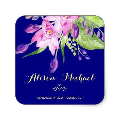 Plumb marine zomer bloemenhuwelijk vierkante sticker | Zazzle.com