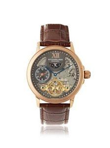 Stuhrling Original Men's 470.3345K54 Brown Skeleton Dial Stainless Steel and Leather Watch