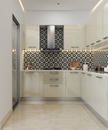 Love This Neutral Kitchen With An Eye Catchy Backsplash The Repeat Geometric Tile Is Right On Trend Modularkitchen Whitekitchen Kitchendesign India